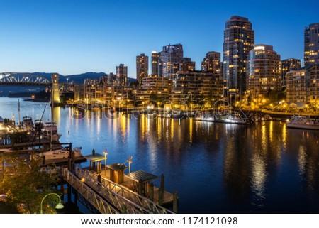 Vancouver city at dusk, British Columbia, Canada. #1174121098