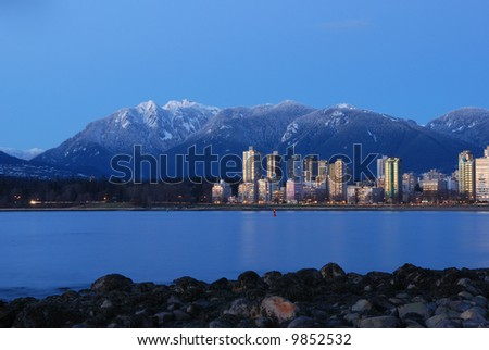 vancouver cityscape with grouse mountain background