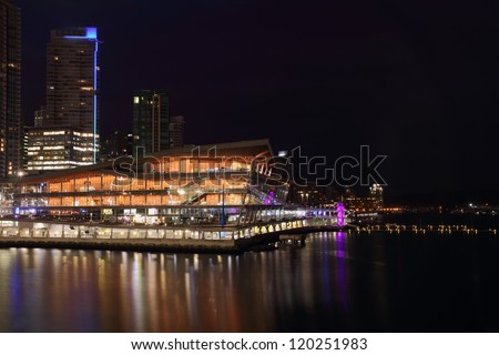 Vancouver Convention Center Night. The Vancouver Trade and Convention on the edge of Burrard Inlet at night.