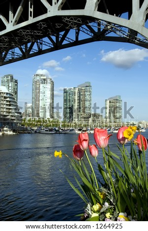 Vancouver downtown in April from Granville Island