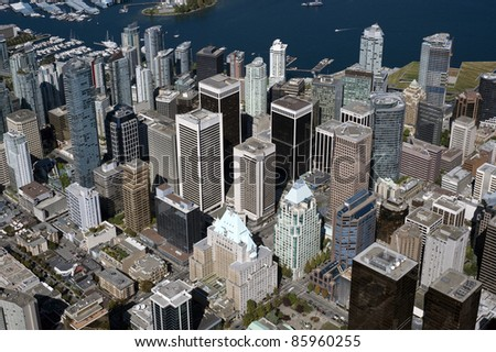 Vancouver - downtown skyscrapers and Coal Harbour, aerial