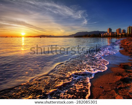 Vancouver downtown sunset with distant cliffs and interesting skies