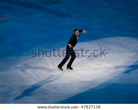 VANCOUVER - FEB 27: Evan Lysacek of USA at the Figure Skating Olympic Gala during the Vancouver 2010 Olympic Games on February 27, 2010 in Vancouver, British Columbia, Canada - stock photo