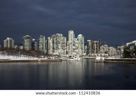 Vancouver in the night and Granville Island, British Columbia, Canada