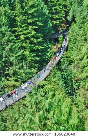 VANCOUVER - JULY 05: People at Capilano Bridge on July 05, 2008 in Vancouver Canada. Suspension bridge crossing the Capilano River, and it is 140 metres long and 70 metres above the river.