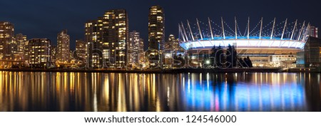 Vancouver panorama with BC Place Stadium in the night
