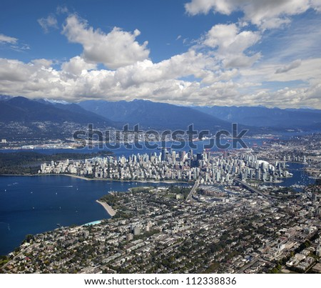 Vancouver - panoramic aerial view with downtown, Kitsilano beach and Coast Mountains