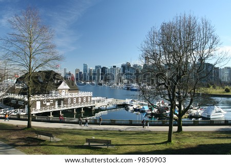 Vancouver Park Scene With Downtown Views