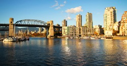 Vancouver skyline and the bridge by a nice sunny day