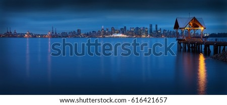 Vancouver Skyline Panorama. The Vancouver skyline across Burrard Inlet from North Vancouver.