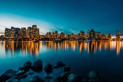 Vancouver skyline reflection at sunset