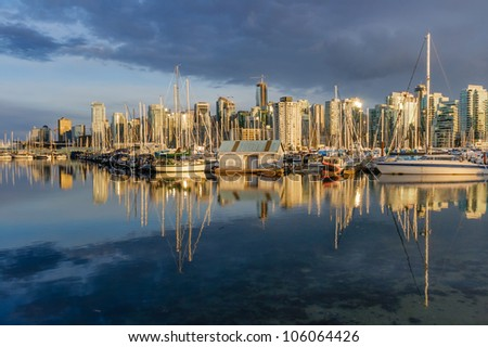 Vancouver skyline with Coal Harbour marina in the foreground