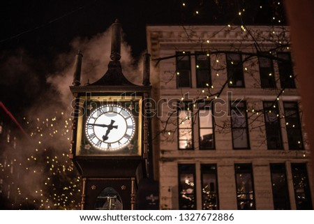 Vancouver steam clock. In the picture we can see the most famous clock in Vancouver.