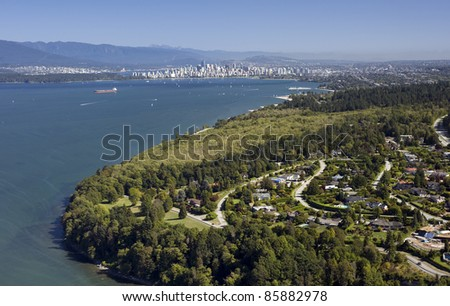 Vancouver - UBC and Point Grey residential area with English Bay, aerial
