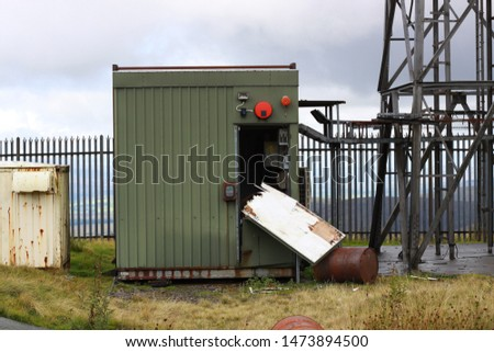 Vandalised telecoms station above the Lead Hills.