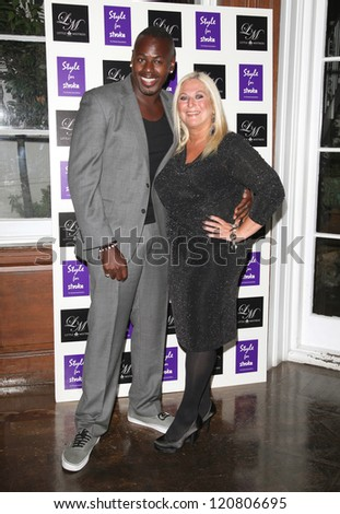 Vanessa Feltz and husband Ben arriving for the Style for Stroke Party, 5 Cavendish Square, London. 02/10/2012 Picture by: Alexandra Glen