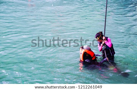 VANG VIENG LAOS-OCTOBER 21:Tourists can not identify themselves. Let's play water in the natural water. on October 21,2018 at Vang Vieng, Vientiane City, province Laos #1212261049