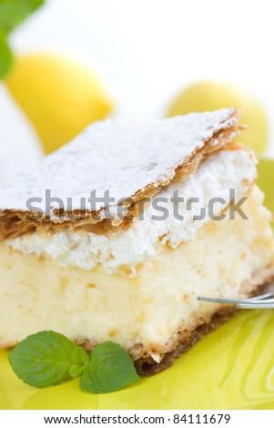 vanilla and custard cream cake dessert - stock photo