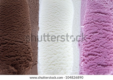 Vanilla chocolate and strawberry ice cream background