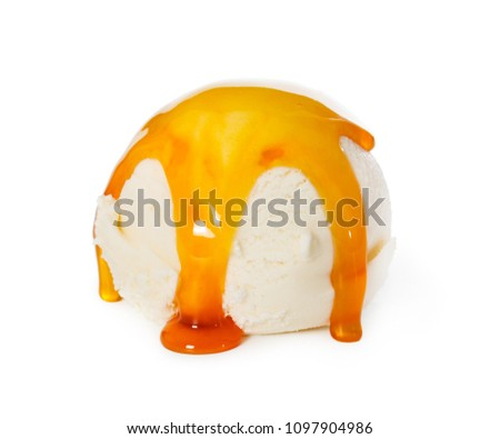 Vanilla ice cream ball with caramel syrup isolated on white background. #1097904986