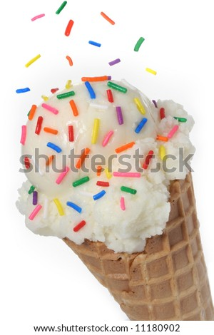 Vanilla ice cream cone topped with colorful sprinkles