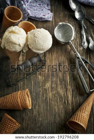 Vanilla Ice Cream in a waffle cones
