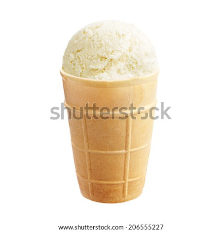 Vanilla ice cream in a waffle cup isolated on white background #206555227