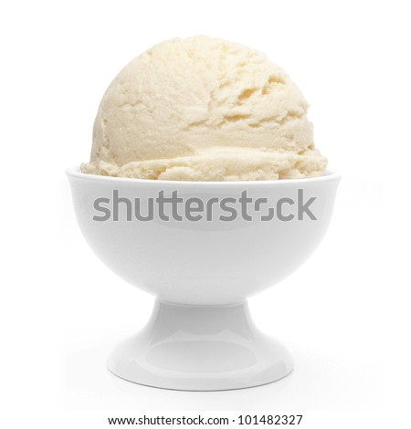 Vanilla ice cream in bowl on white background