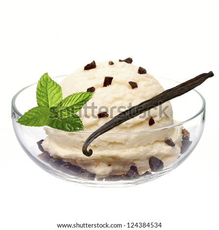 Vanilla ice cream in bowl with mint, vanilla and chocolate chips