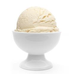 Vanilla ice cream in sundae dish bowl isolated on white background