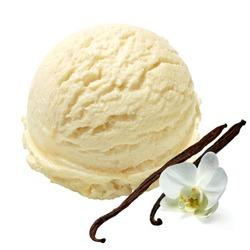 Vanilla ice cream with beans on white background