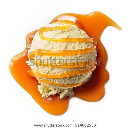 vanilla ice cream with caramel sauce isolated on white background, top view