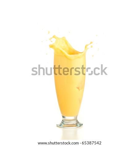 vanilla shake splash on a white background