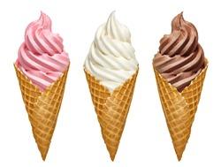 Vanilla, strawberry and chocolate soft serve ice cream / frozen custard in cone isolated on white background