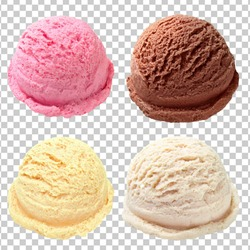 Vanilla, strawberry, chocolate, yellow ice cream scoops from top view isolated on checkered background
