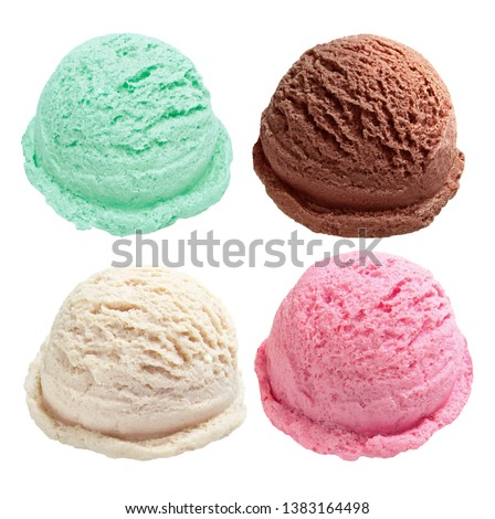 Vanilla, strawberry, chocolate, yellow ice cream scoops from top view isolated on white background