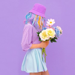 Vanilla Summer girl with flowers. Blooming romantic vibes. Monochrome colors trends.