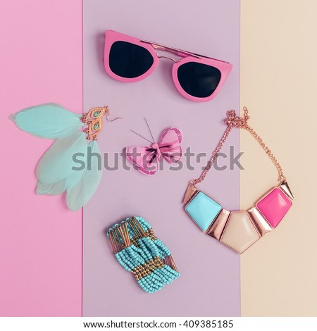 Vanilla Summer trend. Fashionable. Women\'s Accessories. Necklace, Sunglasses, Bracelets, Earrings. Detail fashion