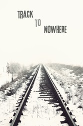 vanishing railroad in winter. track to nowhere