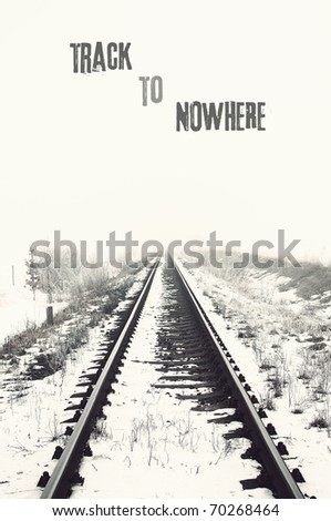 vanishing railroad in winter. track to nowhere
