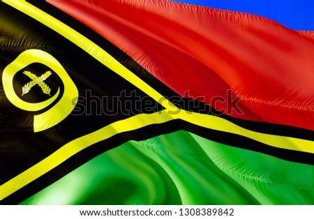 Vanuatu flag. 3D Waving flag design. The national symbol of Vanuatu, 3D rendering. National colors and National flag of Vanuatu for a background. Oceania sign on smooth silk