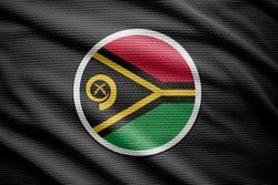 Vanuatu flag isolated on black background. National symbols of Vanuatu.