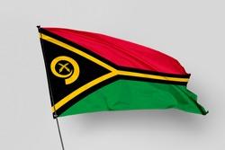 Vanuatu flag isolated on white background. National symbol of Vanuatu. Close up waving flag with clipping path.
