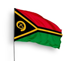 Vanuatu flag isolated on white background with clipping path.