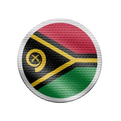 Vanuatu flag isolated on white with clipping path. Vanuatu flag frame with empty space for your text. National symbols of Vanuatu.