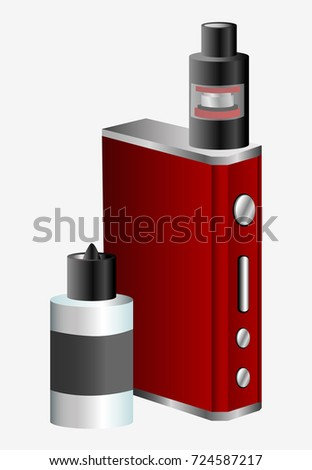Vape device and vaping juice for smoking. Flat  stock illustration.
