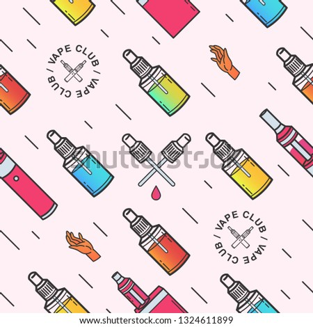Vape seamless pattern. Background with e-cigarettes. colorful