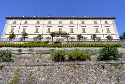 Vaprio d Adda, Milan, Lombardy, Italy: historic Villa Melzi seen from the Martesana cycleway