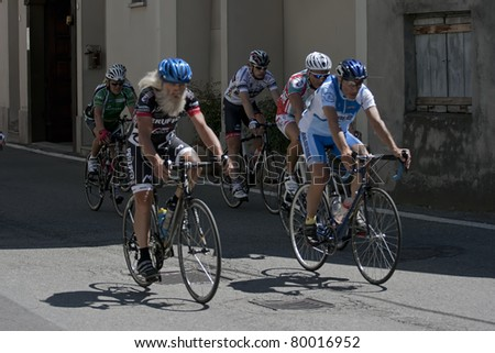 VAPRIO d\'AGOGNA, ITALY-JUNE 25:Senior cyclists compete in the \