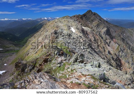 Varadega Peak at 2634 meters on the sea-level and its valley during summer. Brixia province, Lombardy region, Italy